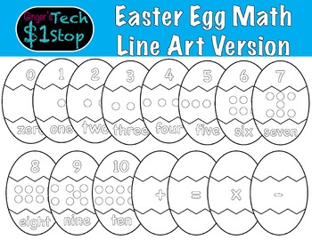 Easter Egg Math * Line Art * Puzzle Pieces * Spring * Coloring Pages