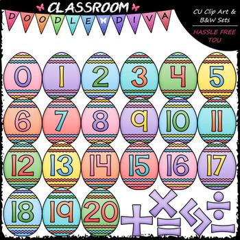 Easter Egg Math Numbers & Symbols - Clip Art & B&W Set
