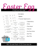 Easter Egg Math Review - 6th Grade CCSS Standards