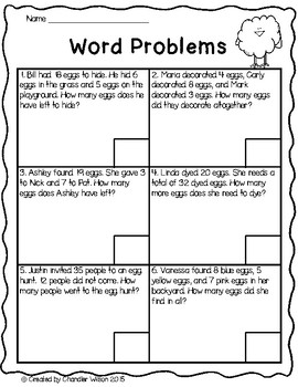 Easter Egg Mixed Addition and Subtraction Word Problems ...