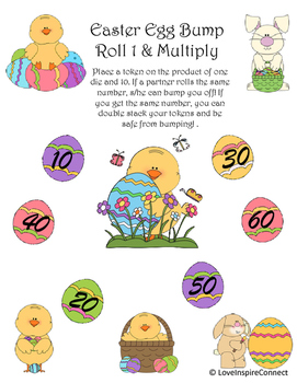 Easter Egg Multiplication Bump Game: Roll 1 & Multiply by 10
