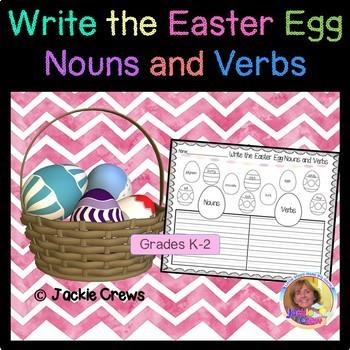 Easter Egg Noun and Verb Sort with Sentence WritingTemplates