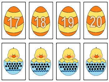 Easter Egg Number Match-Up Math Center  (Numbers 1 - 20)