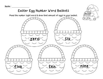Easter Egg Number Word Baskets