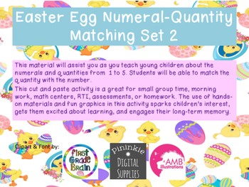Easter Egg Numeral-Quanity Matching Set 2