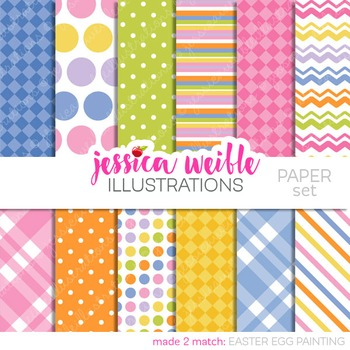 Easter Egg Painting Matching Digital Papers, Pastel Papers