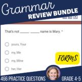 4th & 5th Grade ELA Test Prep Review Grammar Practice Bundle Self Grading Forms
