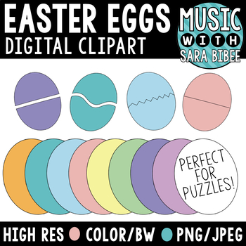 Easter Egg Pieces for Games and Puzzles - Digital Clipart