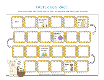 Easter Egg Race! Seasonal Board Game for Speech Therapy SLP