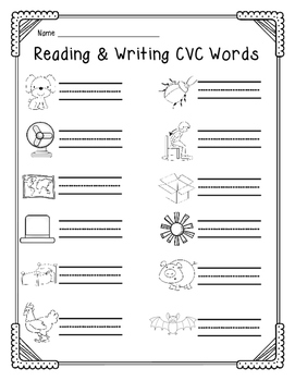 Easter Egg Reading & Writing CVC Words Matching Activity