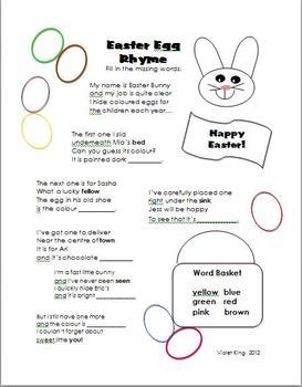 Easter Egg Rhyme Fill in the Blanks