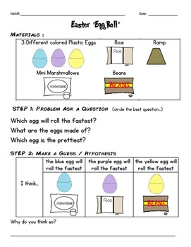 Easter Egg Roll Experiment and Data Sheet