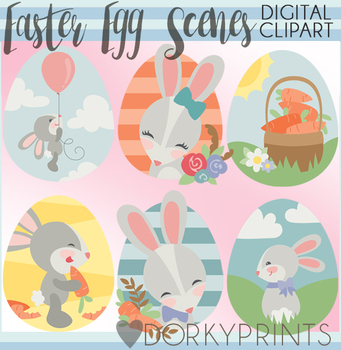 Easter Egg Scenes Clipart