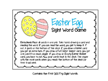 Easter Egg Sight Word Game (Fry Version)
