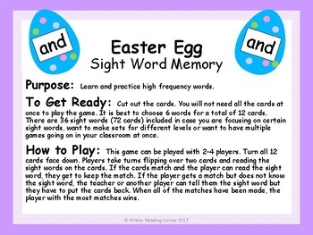Easter Egg Sight Word Memory { High Frequency Word Game }