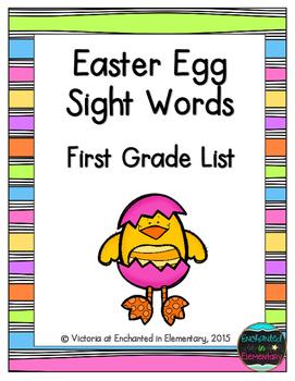 Easter Egg Sight Words! First Grade List Pack