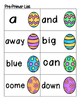 Easter Egg Sight Words! Pre-Primer List Pack