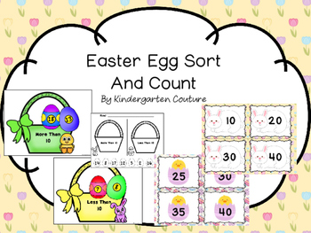 Easter Egg Sort And Count  (More Than 10, Less Than 10) Count by 5's and 10's