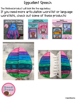 Easter Egg Speech Therapy Craft (articulation language) Craftivity FREE