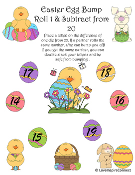 Easter Egg Subtraction Bump Game: Roll 1 & Subtract from 20