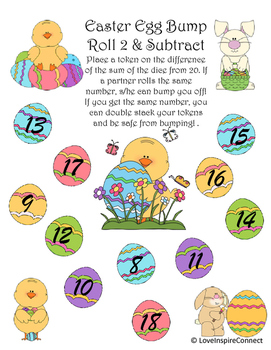 Easter Egg Subtraction Bump Game: Roll 2 & Subtract from 20