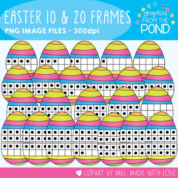 Easter Egg Ten and Twenty Frame Clipart
