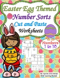 Easter Egg Themed Number Sorts Cut and Paste Worksheets (1-10)