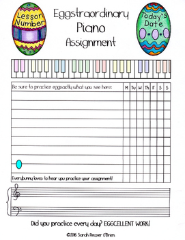Easter Egg Themed Piano Lesson Assignment Sheet