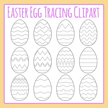 Easter Egg Tracing Clip Art Set Commercial Use - Fine motor control / cutting