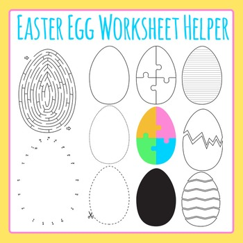 Easter Egg Worksheet Helper Clip Art for Commercial Use