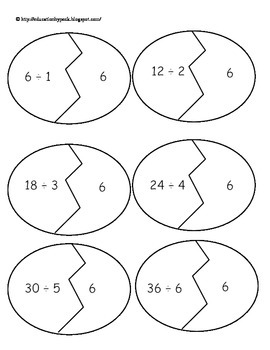 Easter Egg multiplication and division puzzles