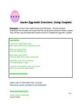Easter Egg-tastic Examples: Using Couplets