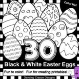 Easter Clip Art: 30 black and white Easter egg clipart
