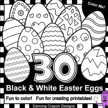 Easter Eggs: 30 black and white line art eggs