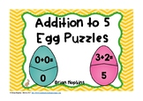 Easter Eggs Addition to 5 Puzzles FREEBIE