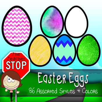 Easter Eggs - Assorted Styles & Colors {The Teacher Stop}