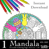 Easter Eggs Bunnies Mandala Coloring Page, Mandala Colouring,r M-1003
