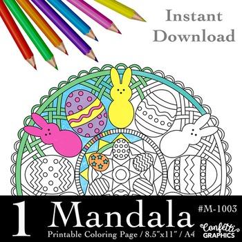 Easter Eggs Bunnies Mandala Coloring Page, Mandala Colouri