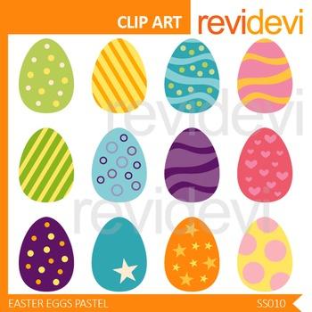 Easter Eggs Clip art / Set of 12, pastel colors