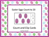 Easter Egg Counting to 20, Count and Clip, Kindergarten Math, Special Education