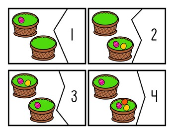 Easter Eggs Count and Match Number Puzzles