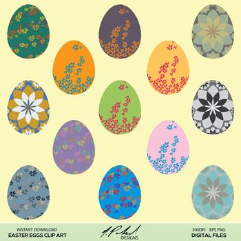 Easter Eggs Digital Clip Art