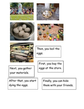 Easter Eggs How to Dye sequencing pictures ESL hands on cut and paste