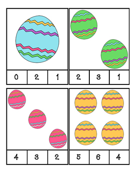Easter - Eggs - Math - Count and Clip #1-24