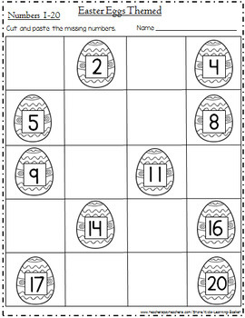 Easter Eggs Missing Numbers (1-20) and Letters (Aa-Zz) Cut and Paste Worksheets