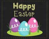 Happy Easter Eggs Poster, Class Decor, Holiday Sign, Bulle