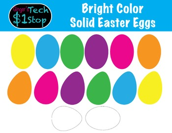 Easter Eggs!  Solid Bright Colors * Black and White!