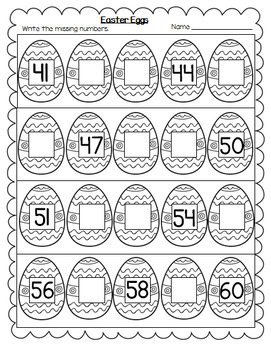 easter eggs themed practice writing missing numbers worksheets 1 100. Black Bedroom Furniture Sets. Home Design Ideas