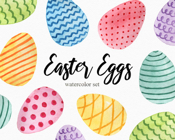 Easter Eggs Vol.2 Watercolor Clipart Set, PNG Images