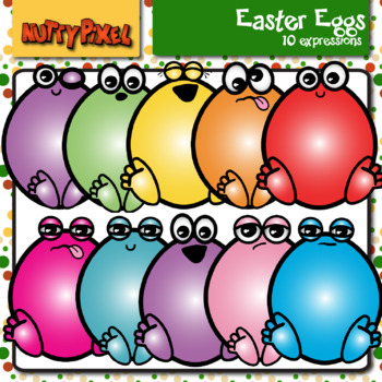 Easter Eggs With Cute Faces - Clip Art